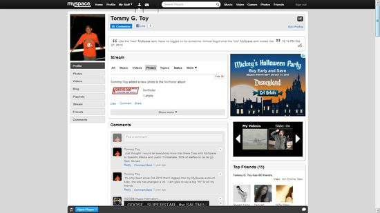 My Myspace Tommy G. Toy Profile page