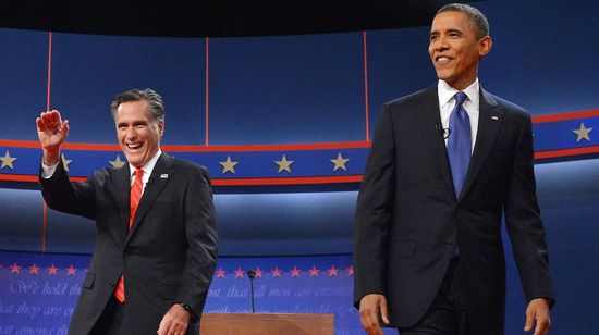 President Barack Obama an Mitt Romney during the debates