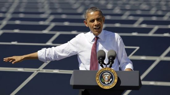 President Barack Obama speaks after touring Sempra's Copper Mountain Solar 1 facility in Boulder City, Nev. (AP) - March 21, 2012