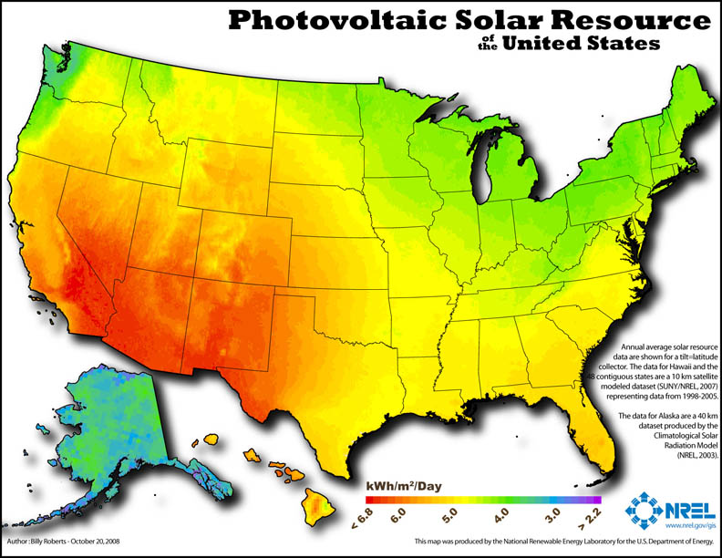Photovoltaic Solar Resource of the United States by Geographic Area in kWh per Day - NREL