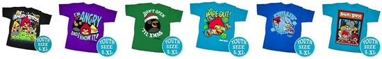 Angry Birds includes kids apparel like these T-shirts in several sizes and colors and printed with the Angry Bird characters