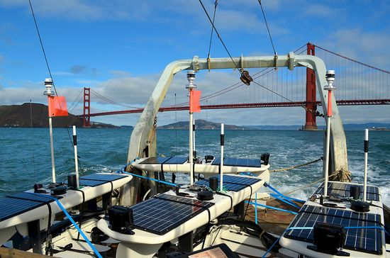 Liquid Robotics' Wave Glider robot Papa Mau saying one last goodbye to the West Coast