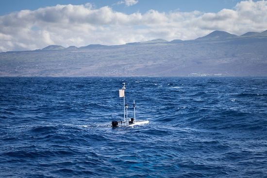 Liquid Robotics' Wave Glider robot Papa Mau halfway through the journey, still going strong off the coast of Hawaii