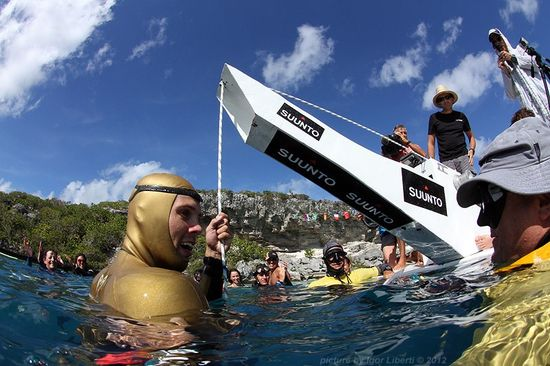 Alexey Molchanov after completing world record CWT 126 meter freedirve