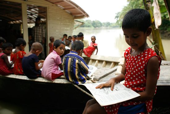 Shidhulai Swanirvar Sangstha runs a fleet of 88 boats that offer education, health care, and connectivity to flood-stranded Bangladeshi families