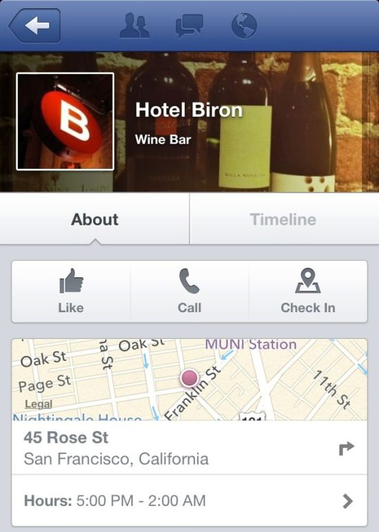 Facebook Nearby allows users to lookup information about each location
