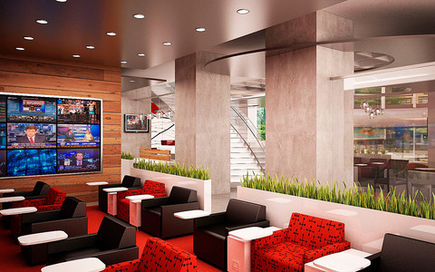 Regus's new street-level business lounge, set to open at 747 3rd Avenue in New York in April