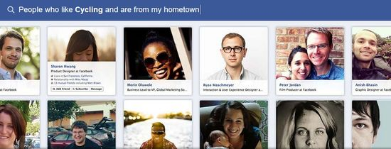 Facebook Graph Search C - People who like Cycling and are from my hometown