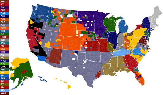 Facebook Map of NFL Team Popularity By Geographic Location