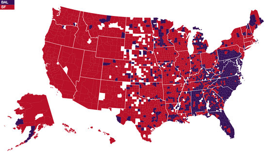 Facebook Map Comparing The  Popularity Super Bowl XVLII Teams, San Francisco 49ers and Baltimore Ravens