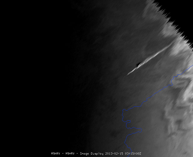 Weather sattelite Meteosat 10 has taken an image of the meteriote shortly after entering the atmosphere.(Copyright 2013 © EUMETSAT)