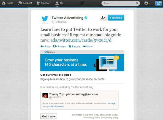 Twitter's new ad product allows direct marketers to generate leads directly from Tweets