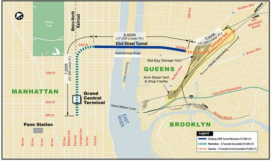 Long Island Railroad Eastside Access Project Planned Improvements Map - Grand Central Station to Queens