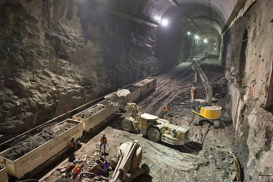 Incredible view of a huge underground chamber bored from solid rock under the streets of New York for the new MTA Eastside Access Project
