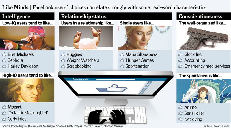 LIKE MINDS -- Facebook users' choices correlate strongly with some real-world characteristics - Courtesy of WSJ