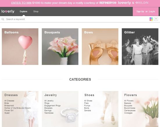 Loverly Categories page