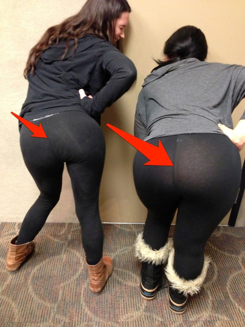 The problem are $20 million worth of see-through black see-through yoga pants like these