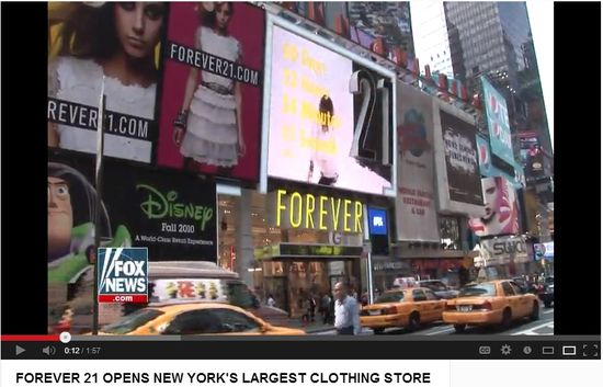 Forever21 oepns New York's largest clothing store in Times Square