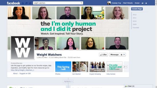 Weight Watchers Facebook homepage