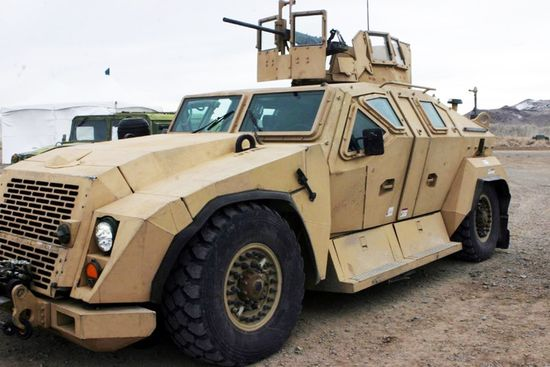 The Office of Naval Research Combat Tactical Vehicle (Technology Demonstrator) outfitted with armor designed and manufactured by Plasan