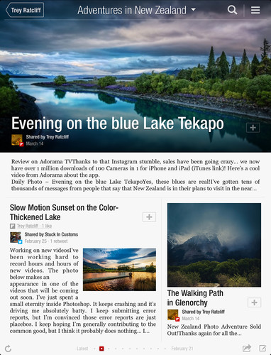 Sample chapter page from a Flipboard magazine titled, 'Adventures in New Zealand'