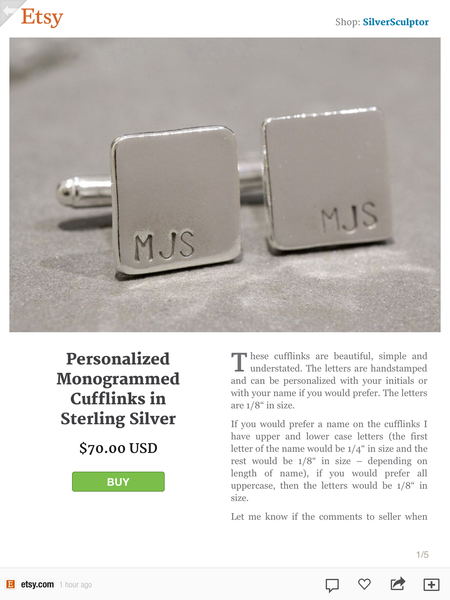 Etsy catalog item, in this particular case, a pair of monogramed cufflinks, with a shopping cart for easy purchases from within Flipboard
