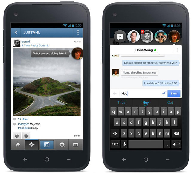 A new messaging system puts texts and FB messages as a layer on top of everything you do.  Chat Head avatar (left) hangs out on top of Instagram.  The UI (right) for quickly managing conversation threads