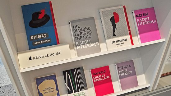 The store sells books, too. Warby Parker teamed up with 14 publishers to display selected books from their catalogs on 14 different shelves. Shown here are Melville House Books