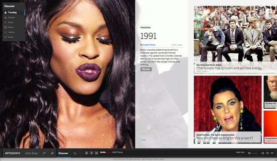 The new Myspace is based on a horizontal feed, with special emphasis on visual content and an omnipresent playback bar at the bottom for music