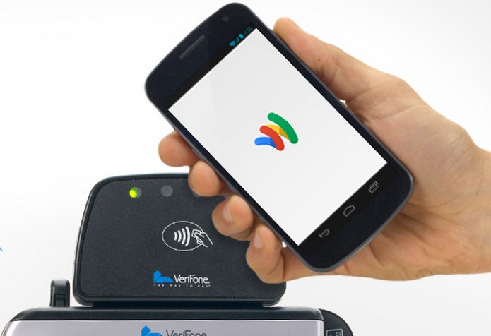 Google Wallet can be used online and in-store by running your smartphone across Google Wallet instore readers used by retailers like this one made by Verifone