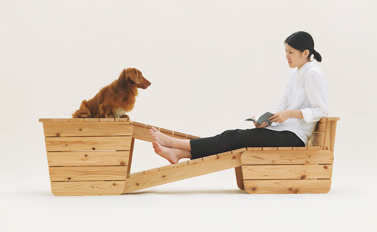 Muji's Architecture for Dogs includes this piece with ramps that lets dogs sit eye level with their owners, for more soul-stirring conversation