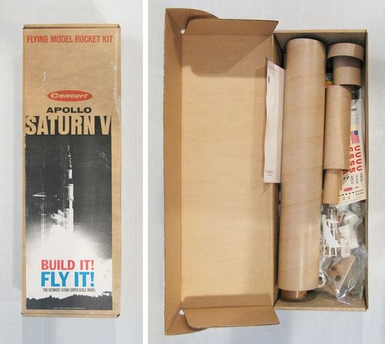 A 40-yr old Centuri Saturn V rocket kit like the one Paul Sahre's father launched was found on eBay