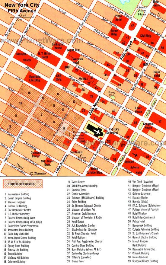 Fifth Avenue, New York City, NY - Retailer Map
