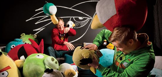 Rovio CEO Mikael Hed, and his cousin Niklas Hed play with some of their merchandise menagerie at company headquarters in Espoo. Photographs by Markus Henttonen