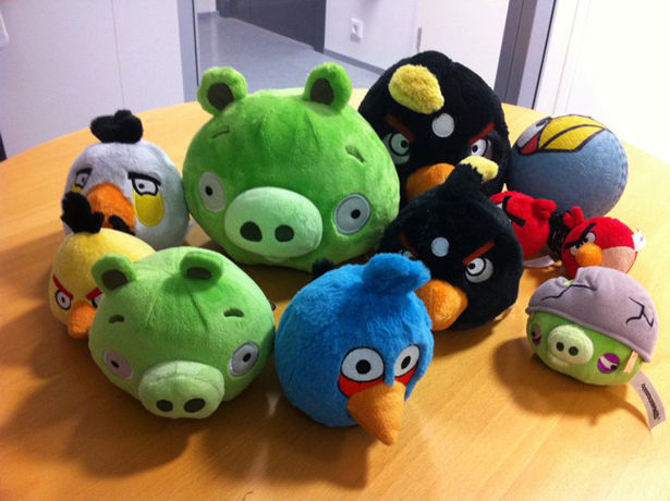 Angry Birds stuffed toys include the famous Angry Bird characters and the Pigs