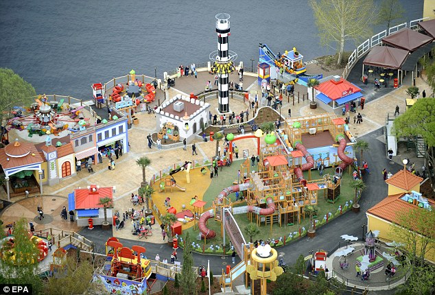 Aerial view of Angry Birds Land inside Sarkanniemi Amusement Park in Tampere, Finland