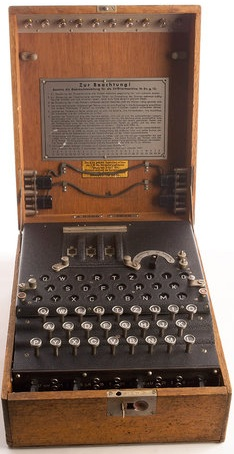 The Enigma cipher machine used by the German military and intelligence services during WWII to create what they thought were unbreakable messages