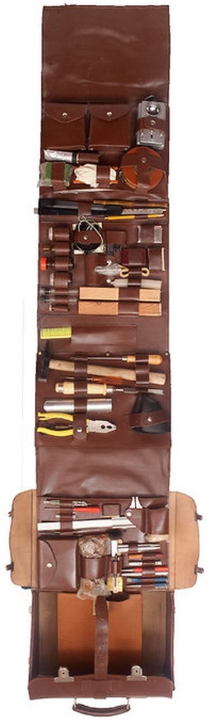 The Stasi Kit, a kit of tools used by East German members of the Stasi secret police, concealed in a leather case, for spying and surveillance purposes