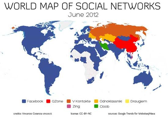 World Map of Social Networks - June 2012 - Google Trends For Websites and Alexa