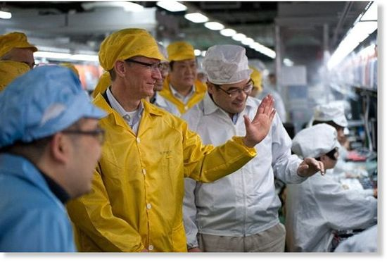 Apple CEO Tim Cook visits the Foxconn plant in China as part of the review process to insure working conditions have improved and Apple vendor requirements are being adhered to