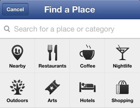 Facebook Nearby allows you to search for a place or category
