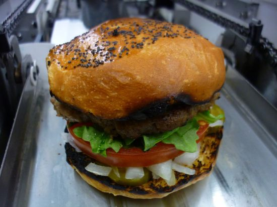 A finished Robo-Burger made by a special robotic machine from Momentum Machines
