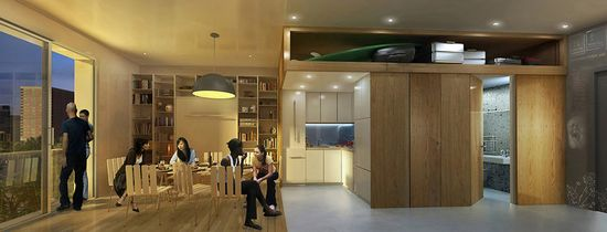 Inside, the 300-square-foot units are designed to appeal to young professionals