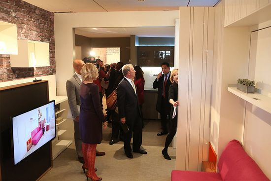 Mayor Bloomberg inspects the model unit at the Museum of the City of New York