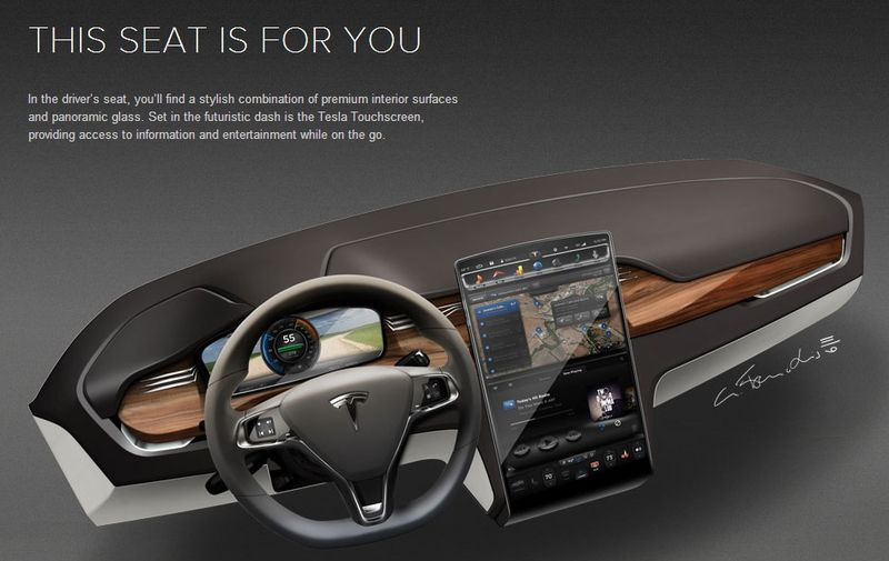 The Tesla Model X driver's seat includes a futuristic dash includkng the Tesla Touchscreen to access informaton and entertainment on the go