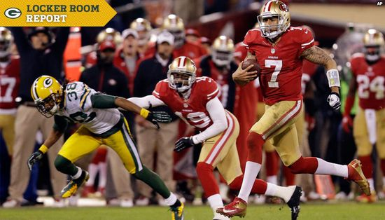 Colin Kaepernick, San Francisco 49ers quarterback, runs for a 30-yard touchdown versus the Green Bay Packers during the NFC Playoffs