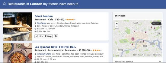 Facebook Graph Search I - Restaurants in London my friends have been to