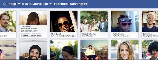 Facebook Graph Search D - People who like Cycling and live in Seattle, Washigton