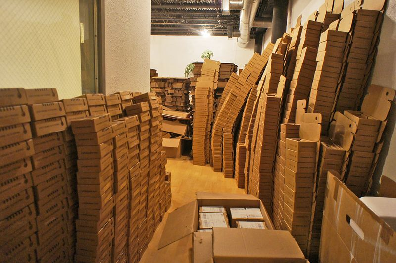 By the time the casing and circuit boards began arriving in June, the team had moved to Austin. Boxes started piling up in their new workspace