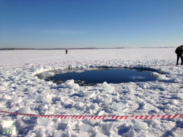 A hole in Chebarkul Lake made by meteorite debris. Photo by Chebarkul town head Andrey Orlov.